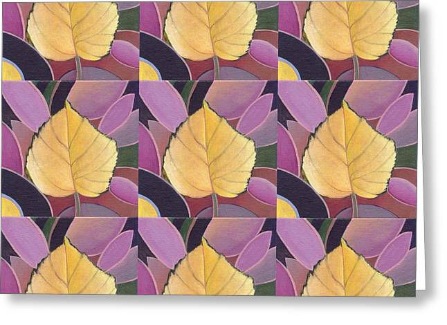 Fallen Leaf Mixed Media Greeting Cards - Nine Golden Leaves 2 Greeting Card by Helena Tiainen