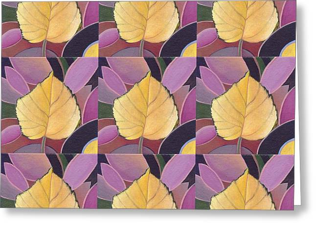 Fallen Leaf Mixed Media Greeting Cards - Nine Golden Leaves Greeting Card by Helena Tiainen