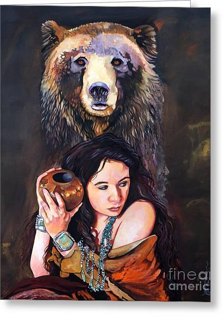 Nine Stars Woman - Bear Medicine Greeting Card by J W Baker