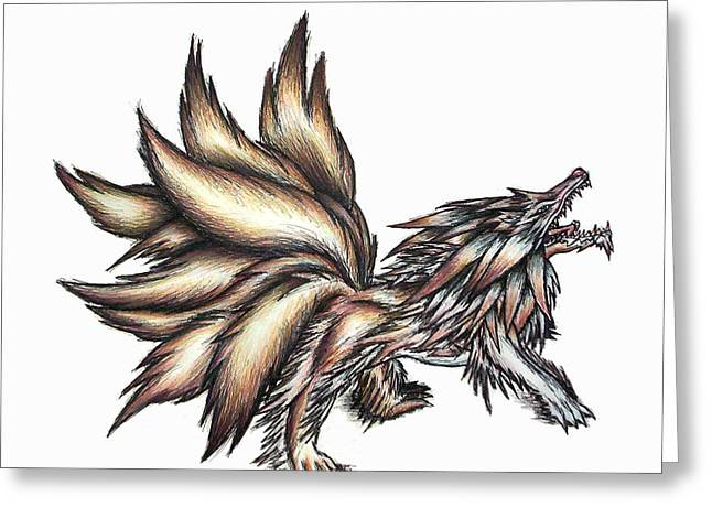 Shawn Dall Greeting Cards - Nine Tails Wolf Demon Greeting Card by Shawn Dall