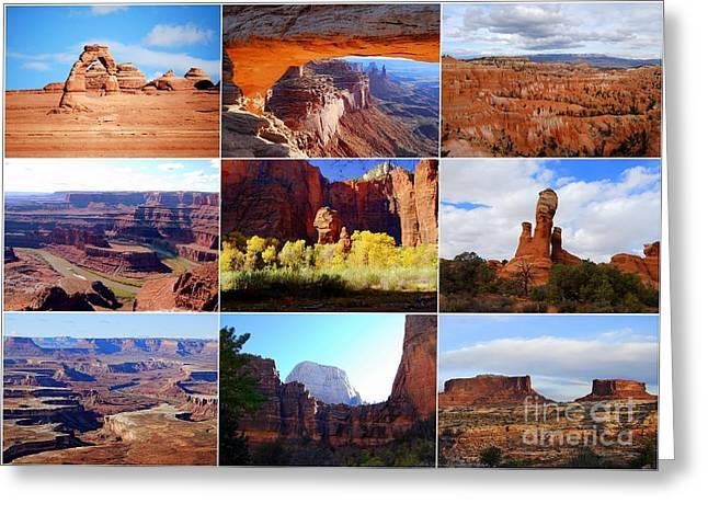 Catherine White Greeting Cards - Nine Utah Landmarks Greeting Card by Catherine Sherman