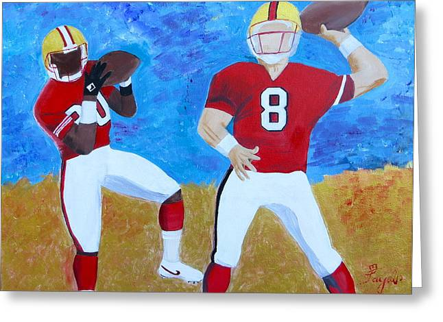 Jerry Rice Greeting Cards - Niners Classic Duo Greeting Card by Artistic Indian Nurse