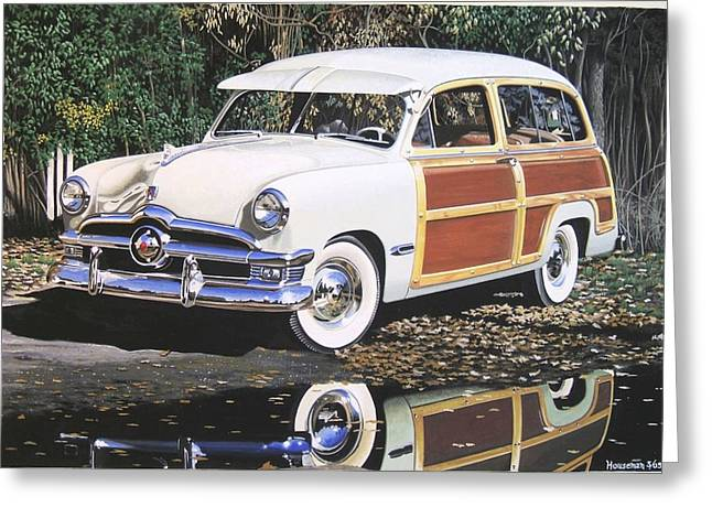 Station Wagon Paintings Greeting Cards - Nineteen Forty Nine Ford Woody Greeting Card by John Houseman
