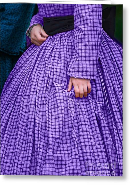 Historical Re-enactments Greeting Cards - Ninetenth Century Woman in Purple Greeting Card by Stephanie Frey