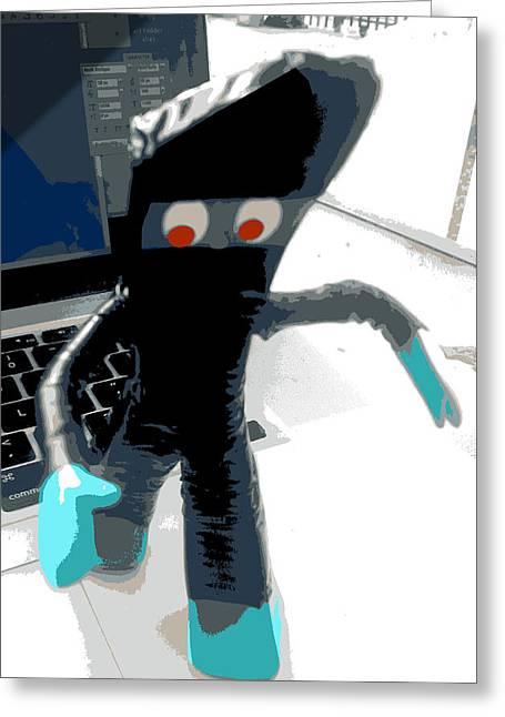 Dojo Greeting Cards - Ninja Gumby stealth mode Greeting Card by Del Gaizo