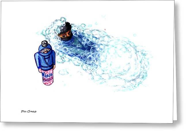 Dojo Greeting Cards - Ninja Stealth Disappears into Bubble Bath Greeting Card by Del Gaizo