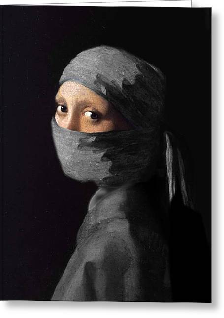 Clever Greeting Cards - Ninja with a Pearl Earring Under Her Cowl Greeting Card by Del Gaizo