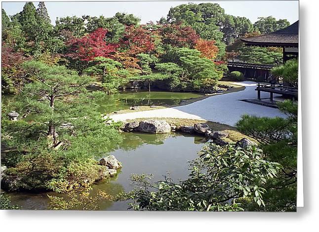 Kyoto Greeting Cards - NINNA-JI TEMPLE GARDEN and POND - KYOTO JAPAN Greeting Card by Daniel Hagerman