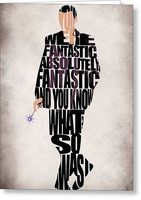 Typography Print Greeting Cards - Ninth Doctor - Doctor Who Greeting Card by Ayse Deniz