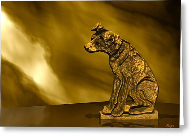 Nipper In Bronze Greeting Card by John Pangia