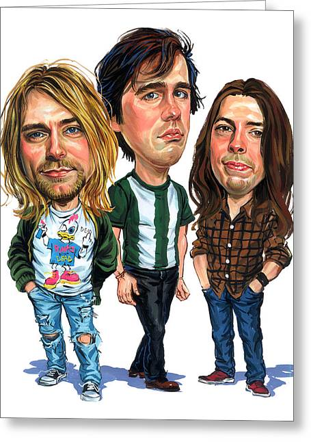 Famous Person Paintings Greeting Cards - Nirvana Greeting Card by Art