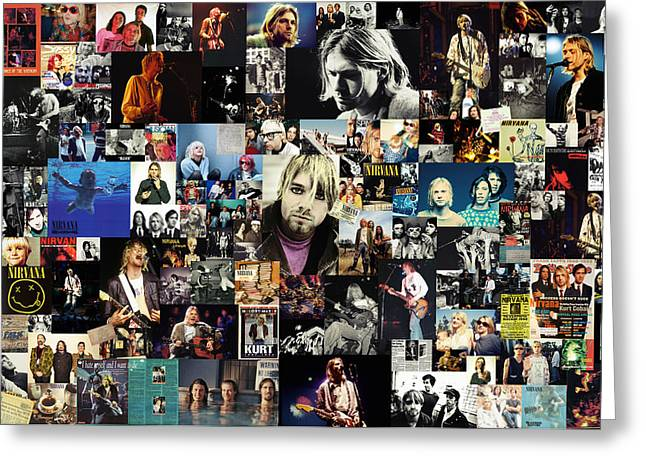 Kurt Greeting Cards - Nirvana collage Greeting Card by Taylan Soyturk
