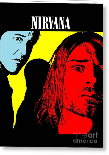 Band Digital Art Greeting Cards - Nirvana No.01 Greeting Card by Caio Caldas