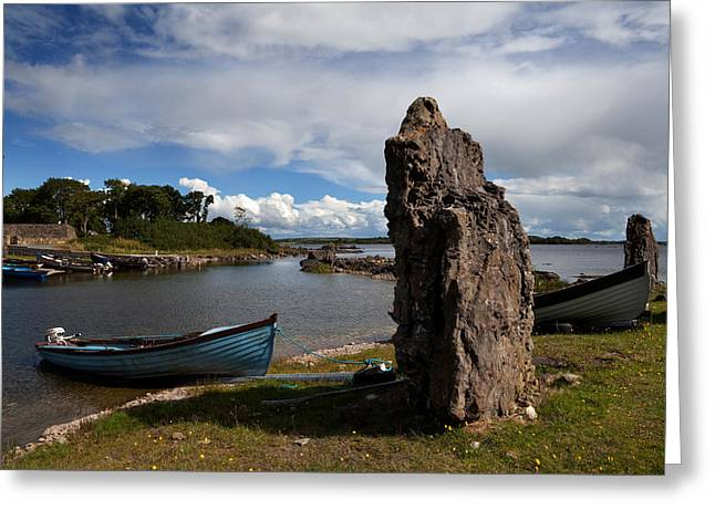 Angling Photographs Greeting Cards - Nishmicatreer Island In Lough Corrib Greeting Card by Panoramic Images