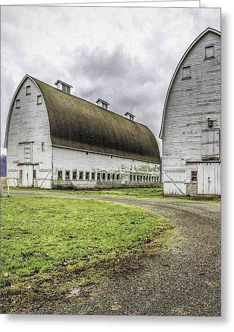Color_image Greeting Cards - Nisqually Twin Barns Greeting Card by Jean OKeeffe Macro Abundance Art