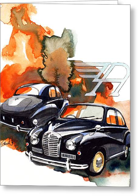 Somerset Greeting Cards - Nissan Austin Somerset Greeting Card by Yoshiharu Miyakawa