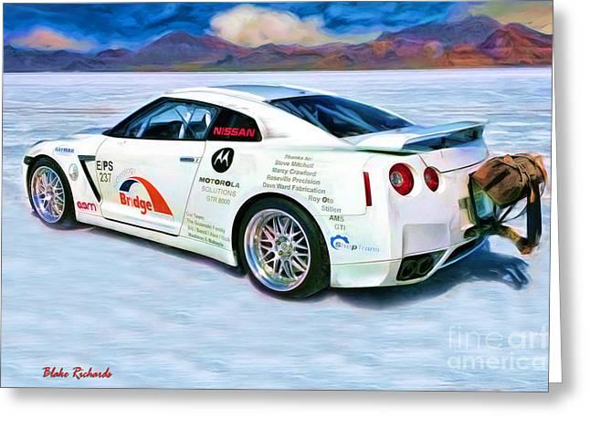 Blake Richards Greeting Cards - Nissan Salt Flats Greeting Card by Blake Richards