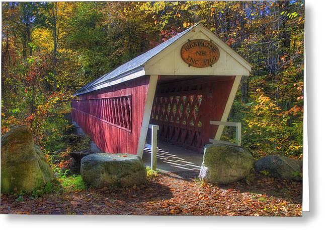 Fall Scenes Greeting Cards - Nissitissit Bridge 2 Greeting Card by Joann Vitali