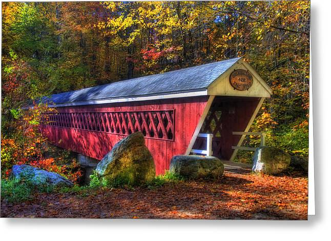 Fall Scenes Greeting Cards - Nissitissit Bridge Brookline NH Greeting Card by Joann Vitali
