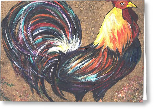 Barn Yard Mixed Media Greeting Cards - Nitas Colorful Rooster Greeting Card by GG Burns