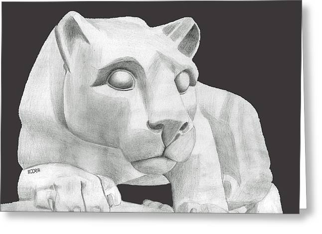 Nittany Lion Greeting Cards - Nittany Lion Statue Greeting Card by Pat Moore