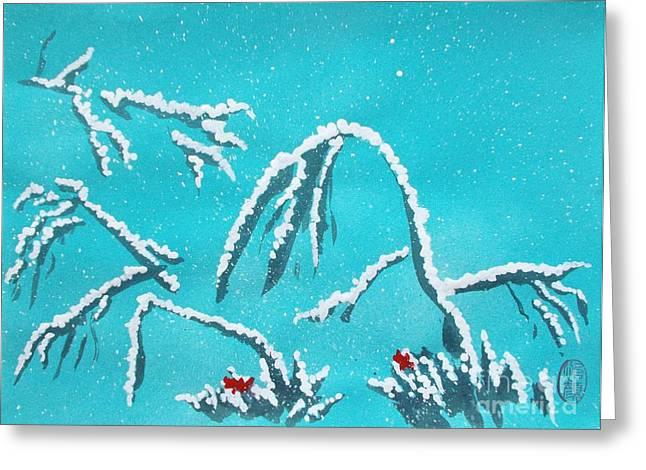 Lacquer Greeting Cards - Niwa ni Hatsuyuki Greeting Card by Roberto Prusso