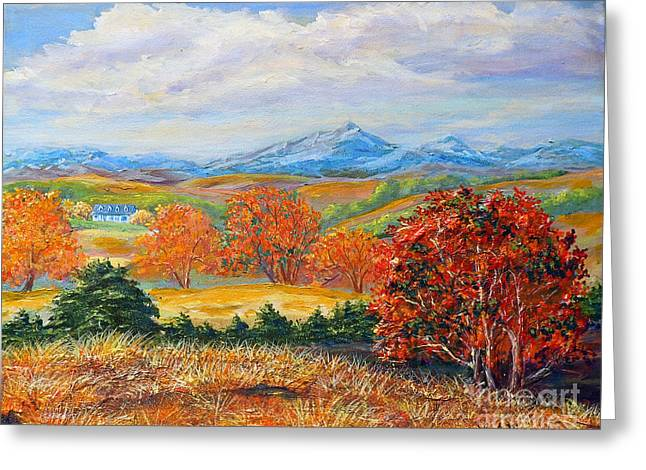 Pulsating Greeting Cards - Nixons Brilliant Autumn View Alongside The Blue Ridge Greeting Card by Lee Nixon