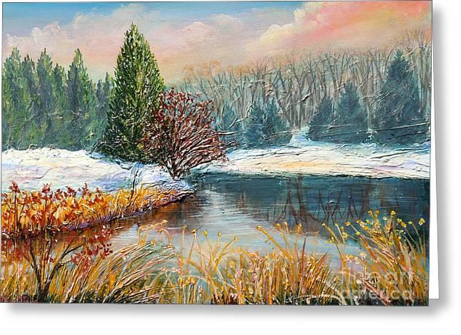 Gravel Road Paintings Greeting Cards - Nixons Colorful Winter View of Greggs Pond Greeting Card by Lee Nixon