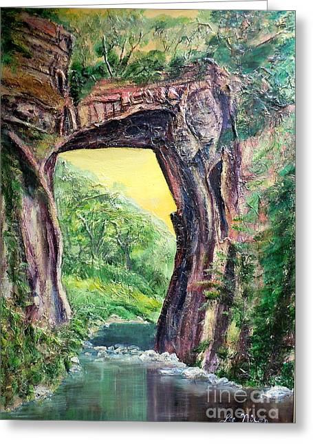 Acylic Painting Greeting Cards - Nixons Glorious View of Natural Bridge Greeting Card by Lee Nixon
