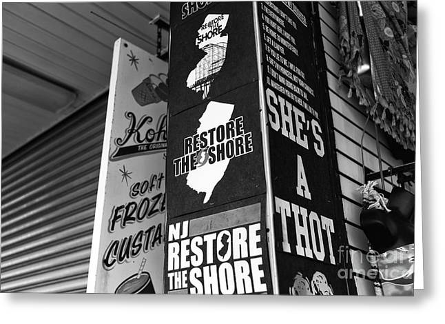 Restore The Shore Greeting Cards - NJ Restore the Shore mono Greeting Card by John Rizzuto