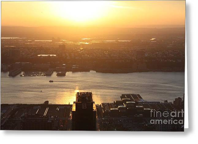 Take Over Greeting Cards - NJ Sunset From The Empire State Building Greeting Card by John Telfer