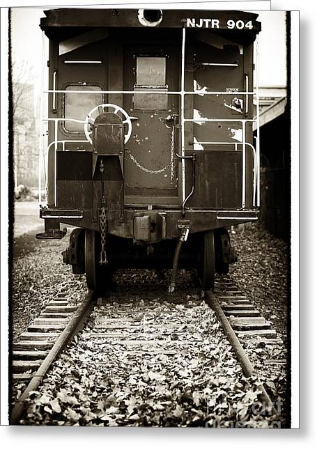 Black And White Train Track Prints Greeting Cards - Njtr 904 Greeting Card by John Rizzuto
