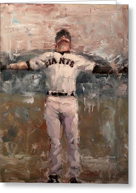 Baseball Paintings Greeting Cards - NLCS Rain Greeting Card by Darren Kerr