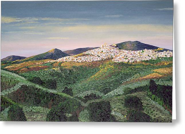 Hill Town Greeting Cards - No. 127, 1992 Oil On Canvas Greeting Card by Trevor Neal