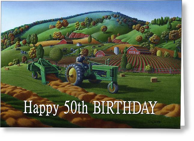 Recently Sold -  - Tennessee Hay Bales Greeting Cards - no 21 Happy 50th Birthday 5x7 greeting card  Greeting Card by Walt Curlee