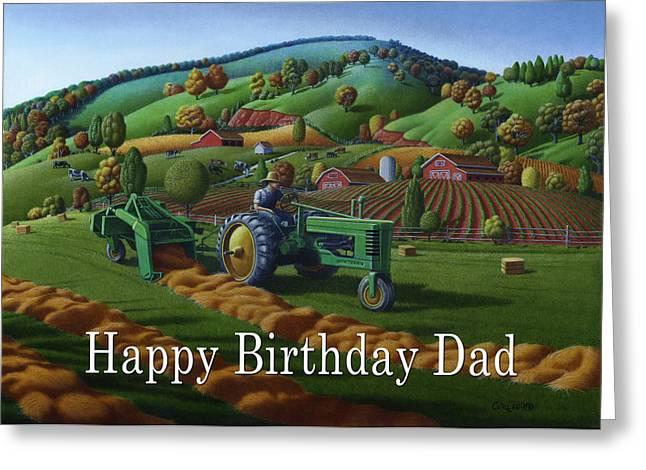 Hay Bales Greeting Cards - no 21 Happy Birthday Dad Greeting Card by Walt Curlee