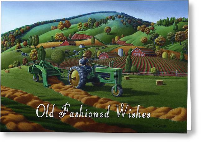 Recently Sold -  - Tennessee Hay Bales Greeting Cards - no 21 Old Fashioned Wishes 5x7 greeting card  Greeting Card by Walt Curlee