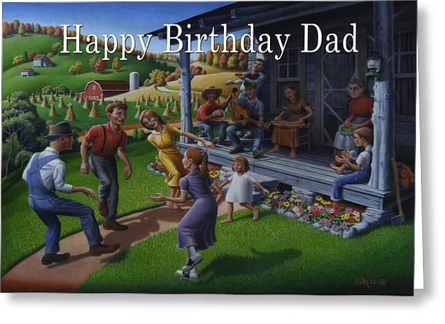 Tn Paintings Greeting Cards - No 23 Happy Birthday Dad Greeting Card Greeting Card by Walt Curlee