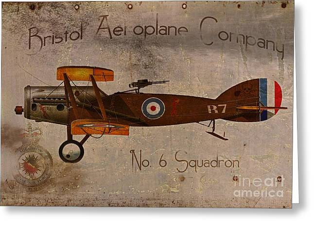 Vintage Airplane Greeting Cards - No. 6 Squadron Bristol Aeroplane Company Greeting Card by Cinema Photography
