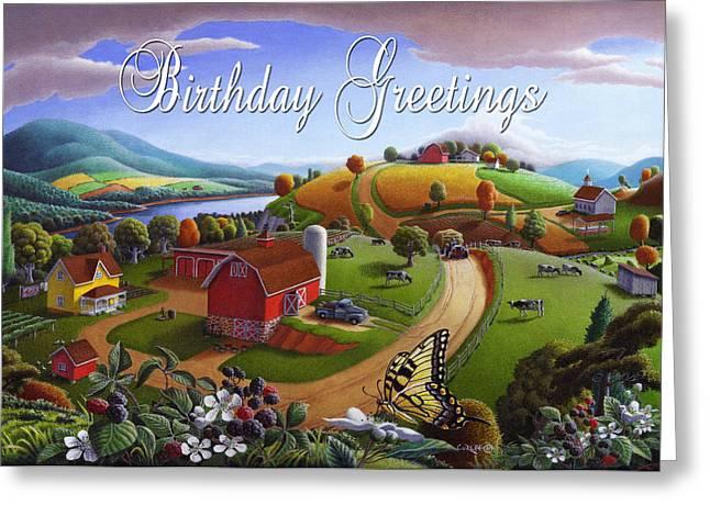 Amish Family Greeting Cards - no 7 Birthday Greetings 5x7 greeting card  Greeting Card by Walt Curlee
