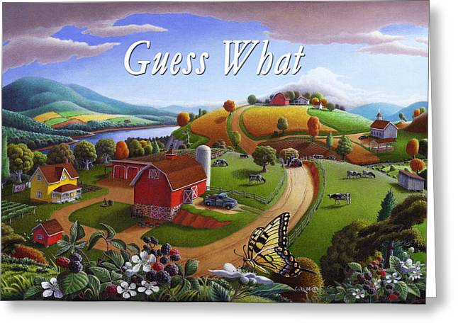 Amish Family Greeting Cards - no 7 Guess What 5x7 greeting card  Greeting Card by Walt Curlee