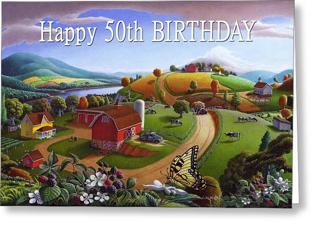 Amish Family Paintings Greeting Cards - no 7 Happy 50th Birthday 5x7 greeting card  Greeting Card by Walt Curlee