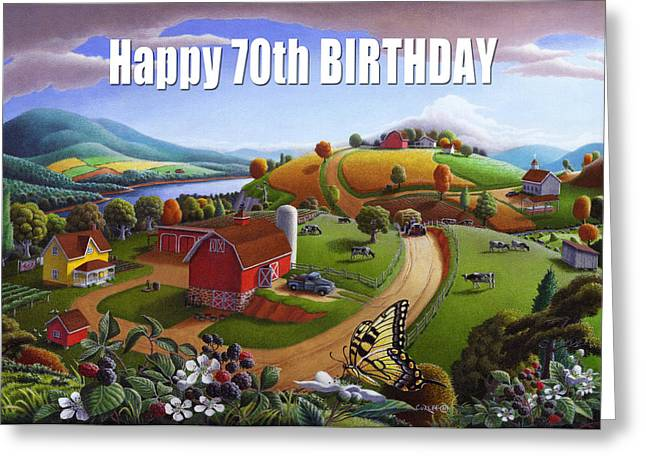 Amish Family Greeting Cards - no 7 Happy 70th Birthday 5x7 greeting card  Greeting Card by Walt Curlee