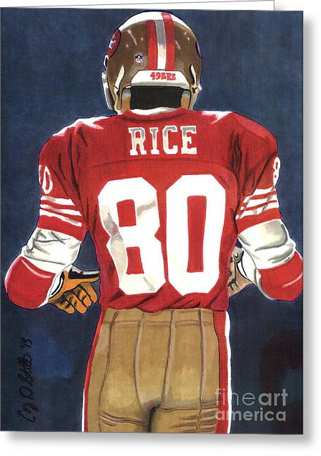 Jerry Rice Greeting Cards - No. 80 Greeting Card by Cory Still