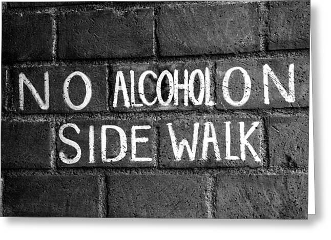 Athens Georgia Greeting Cards - No Alcohol on Sidewalk Greeting Card by Brandon Addis