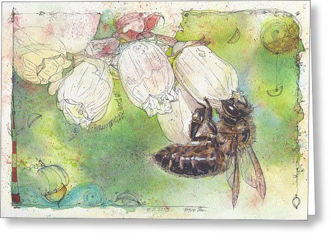 No Bees - No Blueberries Greeting Card by Petra Rau
