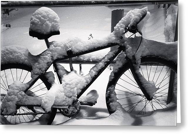Snowy Evening Greeting Cards - No Bike Ride Today Greeting Card by Mountain Dreams