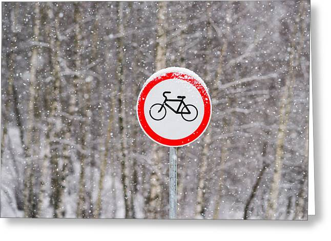 Christmas Blocks Greeting Cards - No Bikes Greeting Card by Alexander Senin