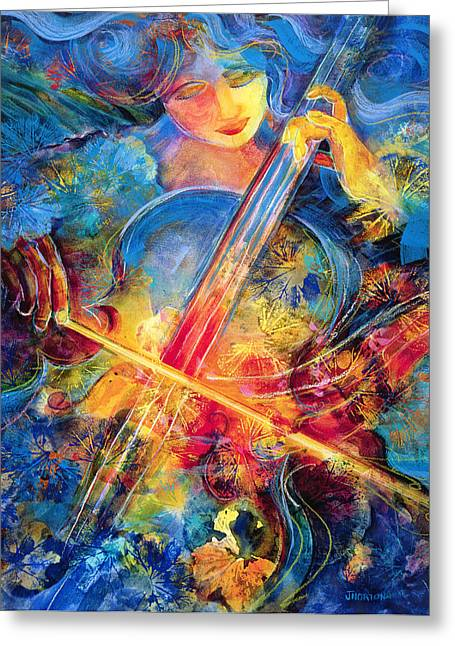 Cello Greeting Cards - No Blue Notes Greeting Card by Jen Norton