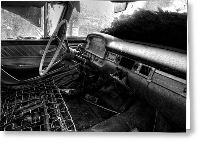 Cushion Greeting Cards - No Cushion In An Old Car in Black and White Greeting Card by Greg Mimbs